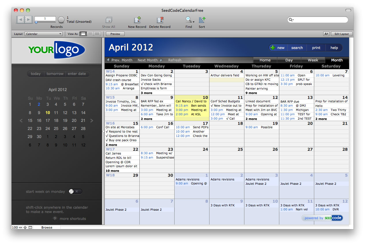 Filemaker 12 sql in our free calendar seedcode for Filemaker pro 12 templates