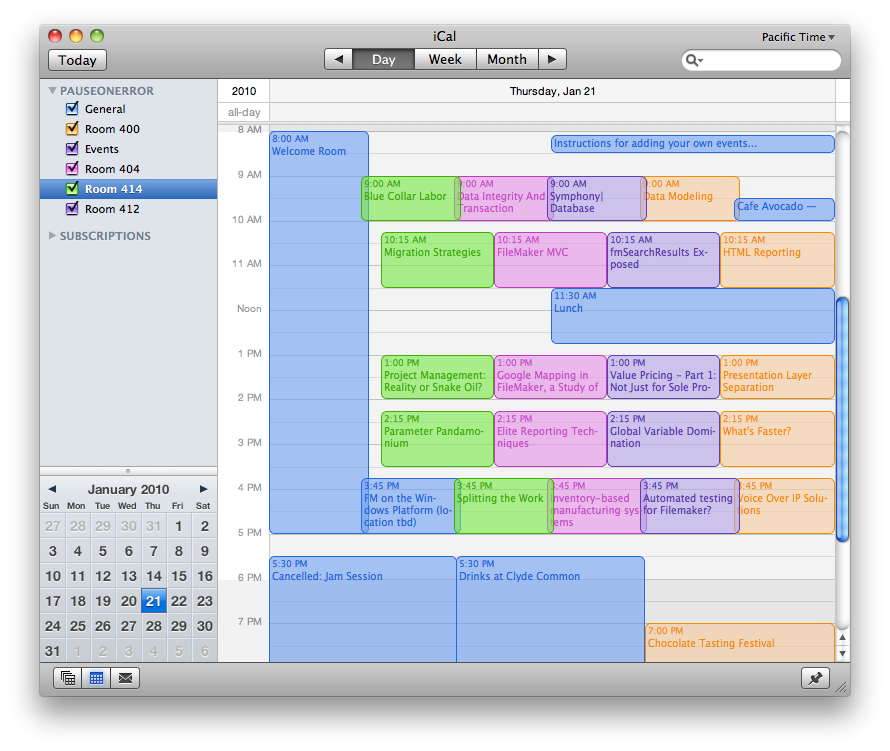 Events in iCal