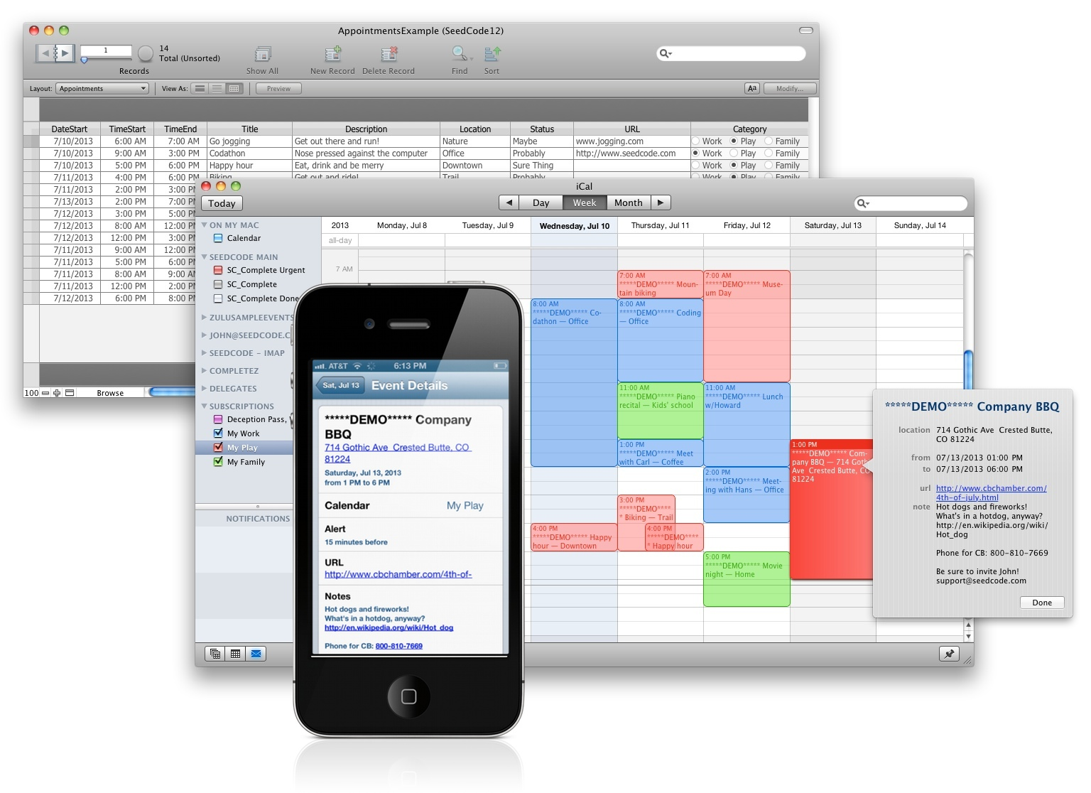 Ical and google calendar sync for filemaker seedcode